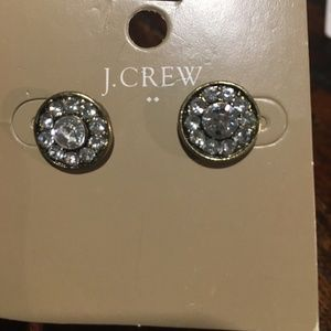J Crew round clear earrings NWT